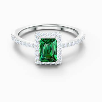 Angelic Rectangular 戒指, 綠色, 鍍白金色 - Swarovski, 5572659