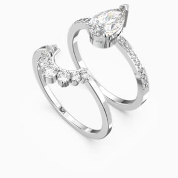 Attract Pear Ring Set, White, Rhodium plated - Swarovski, 5572660