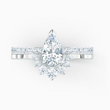 Conjunto de anillos Attract Pear, blanco, baño de rodio - Swarovski, 5572668
