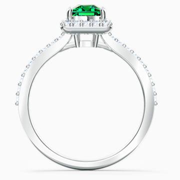 Anillo Angelic Rectangular, verde, baño de rodio - Swarovski, 5572669