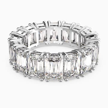 Vittore Wide Ring, White, Rhodium plated - Swarovski, 5572689