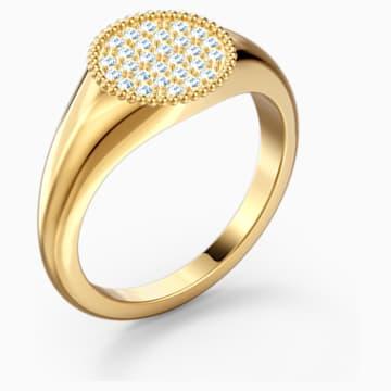 Ginger Signet Ring, White, Gold-tone plated - Swarovski, 5572698
