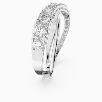 Twist Rows Ring, weiss, rhodiniert - Swarovski, 5572710