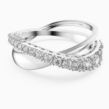 Twist Rows Ring, White, Rhodium plated - Swarovski, 5572716