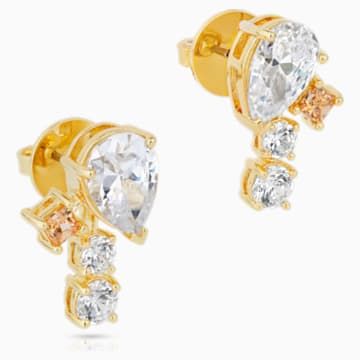 Icons of Film Stud Pierced Earrings, Yellow, Gold-tone plated - Swarovski, 5572835