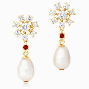Penélope Cruz Icons of Film Pearl 穿孔耳环, 红色, 镀金色调 - Swarovski, 5573958