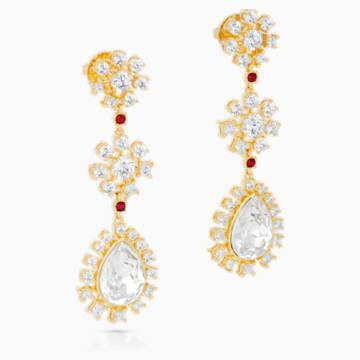 Boucles d'oreilles Penélope Cruz Icons of Film Flower, rouge, métal doré - Swarovski, 5573960