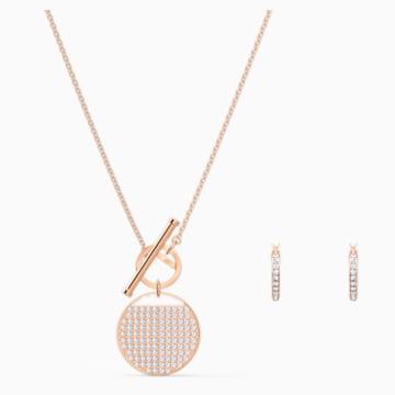 Parure Ginger T Bar, blanc, métal doré rose - Swarovski, 5574915