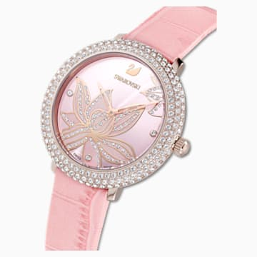 Crystal Frost Watch, Leather strap, Pink, Rose-gold tone PVD - Swarovski, 5575217