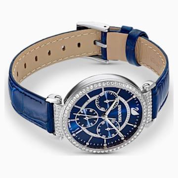 Passage Chrono Watch, Leather strap, Blue, Stainless Steel - Swarovski, 5580342