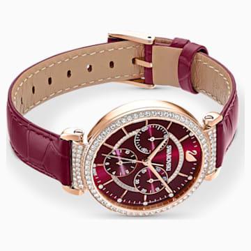 Passage Chrono 腕表, 真皮表带, 红色, 玫瑰金色调 PVD - Swarovski, 5580345