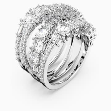 Twist Wrap 戒指, 白色, 镀铑 - Swarovski, 5580952