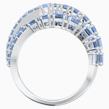 Twist Wrap 戒指, 蓝色, 镀铑 - Swarovski, 5582809