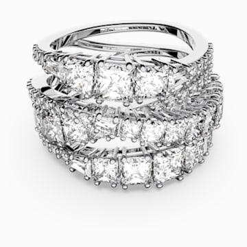 Twist Wrap gyűrű, fehér, ródiumbevonattal - Swarovski, 5584646