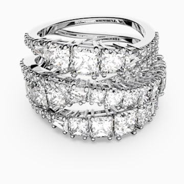 Twist Wrap Ring, White, Rhodium plated - Swarovski, 5584646