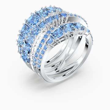 Twist Wrap 戒指, 蓝色, 镀铑 - Swarovski, 5584649