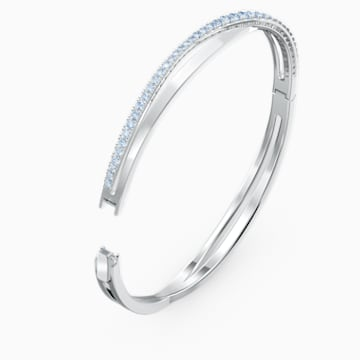 Twist Rows Bracelet, Blue, Rhodium plated - Swarovski, 5584652