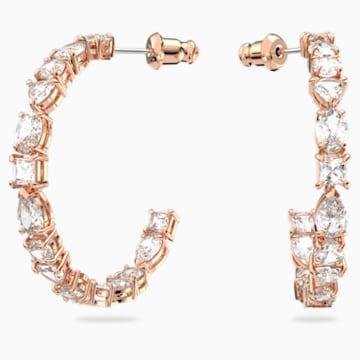 Tennis Deluxe Mixed 穿孔耳環, 白色, 鍍玫瑰金色調 - Swarovski, 5585438