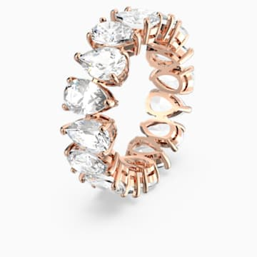 Vittore Pear Ring, White, Rose-gold tone plated - Swarovski, 5586161