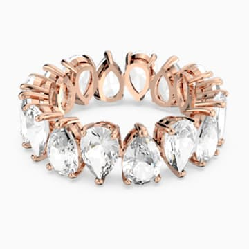 Vittore Pear Ring, White, Rose-gold tone plated - Swarovski, 5586164