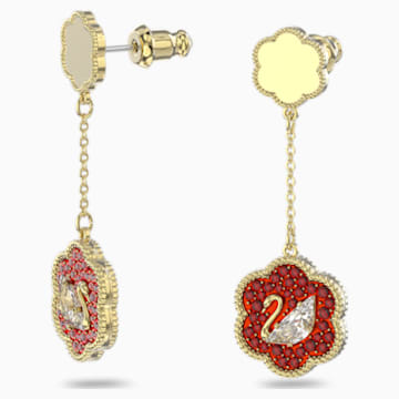 Flower of Fortune Pierced Earrings, Swan, Red, Gold-tone plated - Swarovski, 5597667