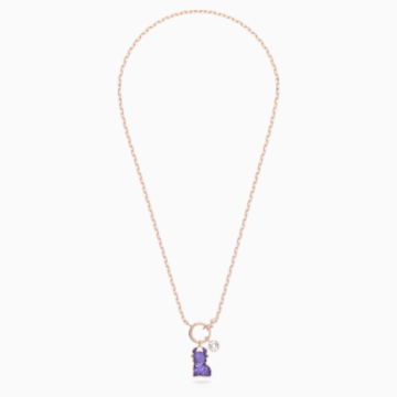 Chinese Zodiac Necklace, Violet, Rose-gold tone plated - Swarovski, 5599139