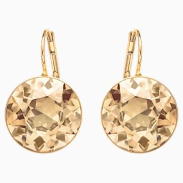 Bella Pierced Earrings, Brown, Gold-tone plated - Swarovski, 901640