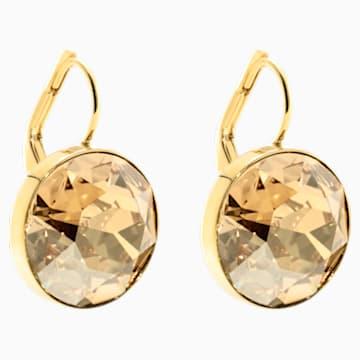 Bella 穿孔耳环, 咖啡色, 镀金色调 - Swarovski, 901640