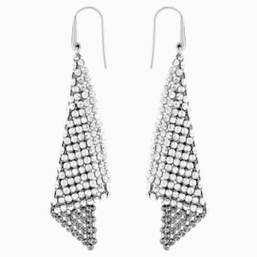 Fit Pierced Earrings, Grey, Rhodium plated - Swarovski, 976061