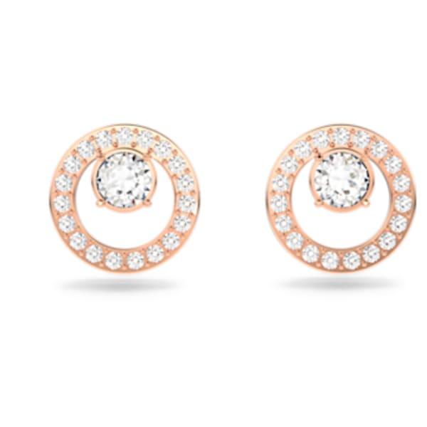 Boucles d'oreilles Creativity Circle, blanc, Métal doré rose