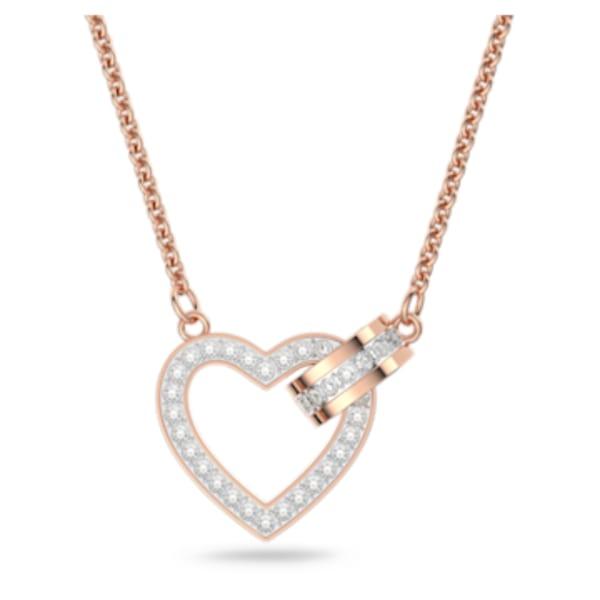 Lovely Necklace, White, Rose-gold tone plated | Swarovski.com