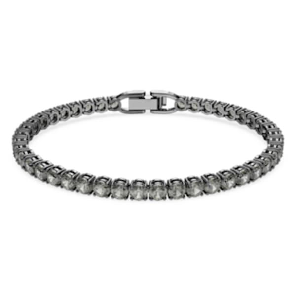 Bracelet Tennis Deluxe, noir, Métal plaqué ruthénium