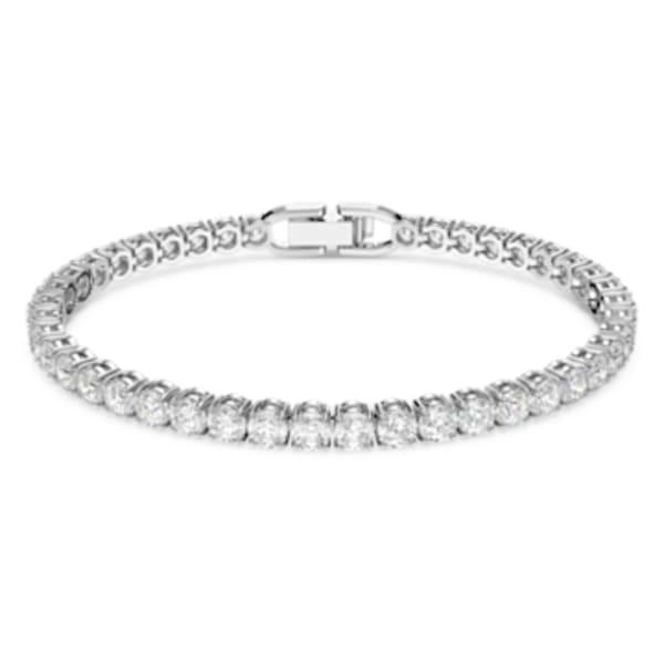 Tennis Deluxe Bracelet, Black, Ruthenium plated | Swarovski.com