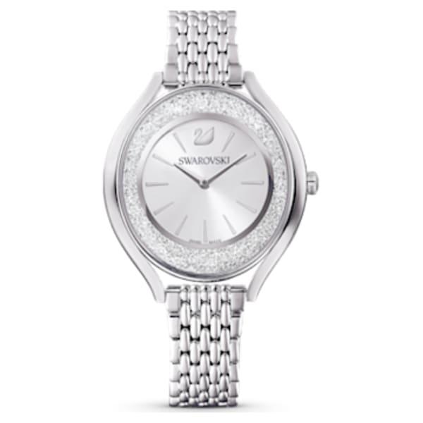 Montre Crystalline Aura, bracelet en métal, ton argenté, acier ...