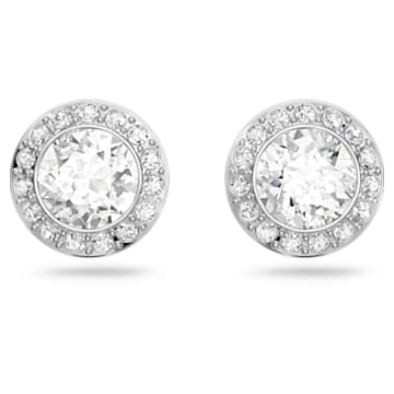 Angelic 耳钉, 圆形切割, 白色, 镀铑 - Swarovski, 1081942