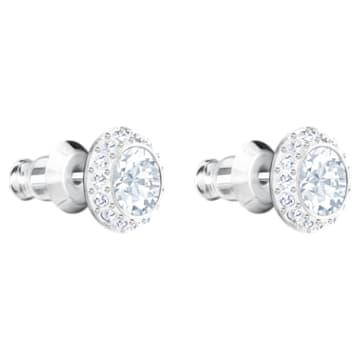 Angelic stud earrings, Round, White, Rhodium plated - Swarovski, 1081942