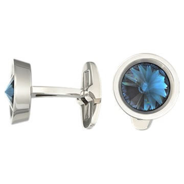 Round Cufflinks, Blue, Stainless steel - Swarovski, 1095441