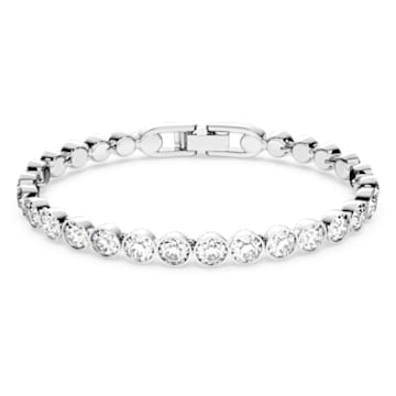 Tennis Bracelet, White, Rhodium plated - Swarovski, 1791305