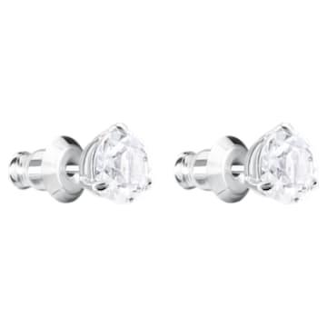 Clous d'oreilles Solitaire, Cristal taille rond, Blanches, Métal rhodié - Swarovski, 1800046