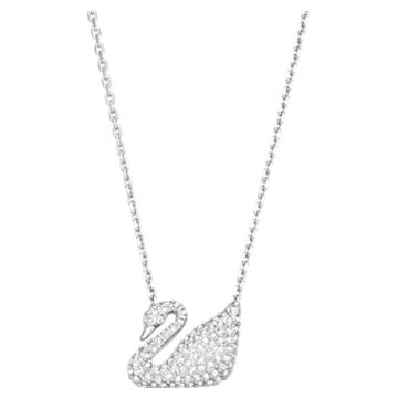 Swan 項鏈, 天鵝, 白色, 鍍白金色 - Swarovski, 5007735