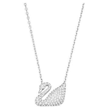 Swan 项链, 天鹅, 白色, 镀铑 - Swarovski, 5007735