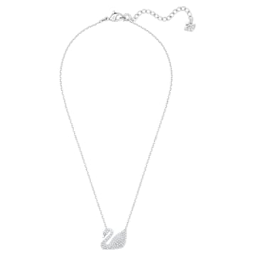 Swan Necklace, White, Rhodium plated - Swarovski, 5007735