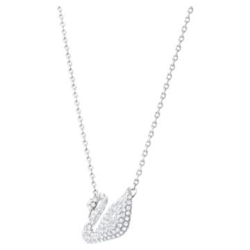 Collana Swan, Cigno, Bianco, Placcato rodio - Swarovski, 5007735