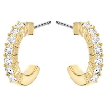 Mini Hoop 穿孔耳环, 白色, 镀金色调 - Swarovski, 5022451