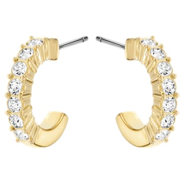 Mini Hoop Pierced Earrings, White, Gold-tone plated - Swarovski, 5022451