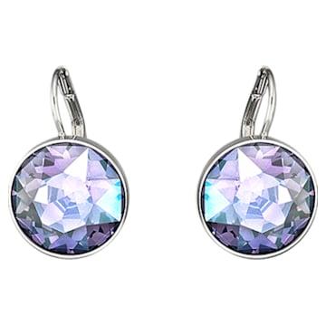 Bella earrings, Purple, Rhodium plated - Swarovski, 5030703
