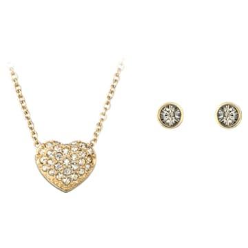 Set Heart, Cuore, Marrone, Placcato color oro - Swarovski, 5030713
