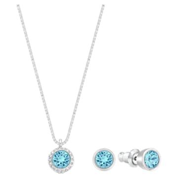 Flirt set, Blue, Rhodium plated - Swarovski, 5030716