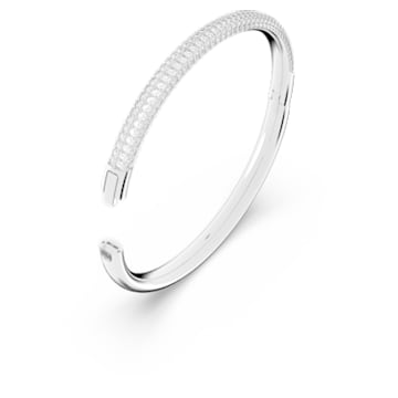 Stone bangle, White, Rhodium plated - Swarovski, 5032845