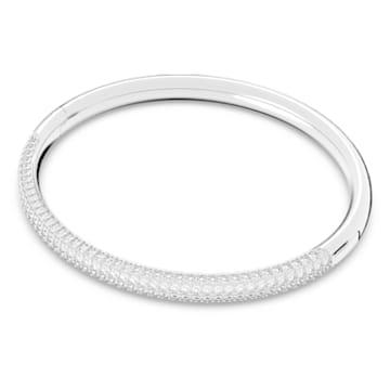 Stone bangle, White, Rhodium plated - Swarovski, 5032846